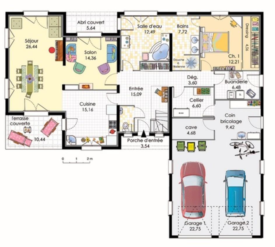 S Plan Maison U Ouvert Toit Plat Garage