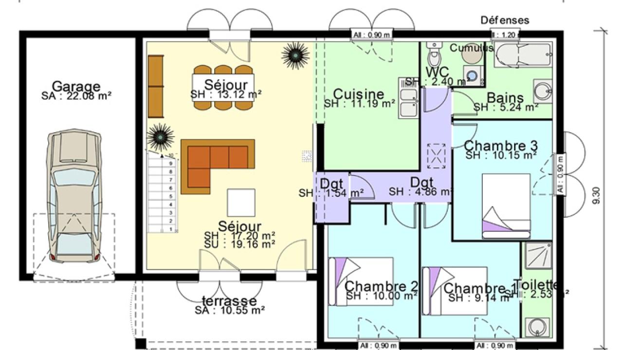 Plan de maison plain-pied avec suite parentale, mezzanine ...