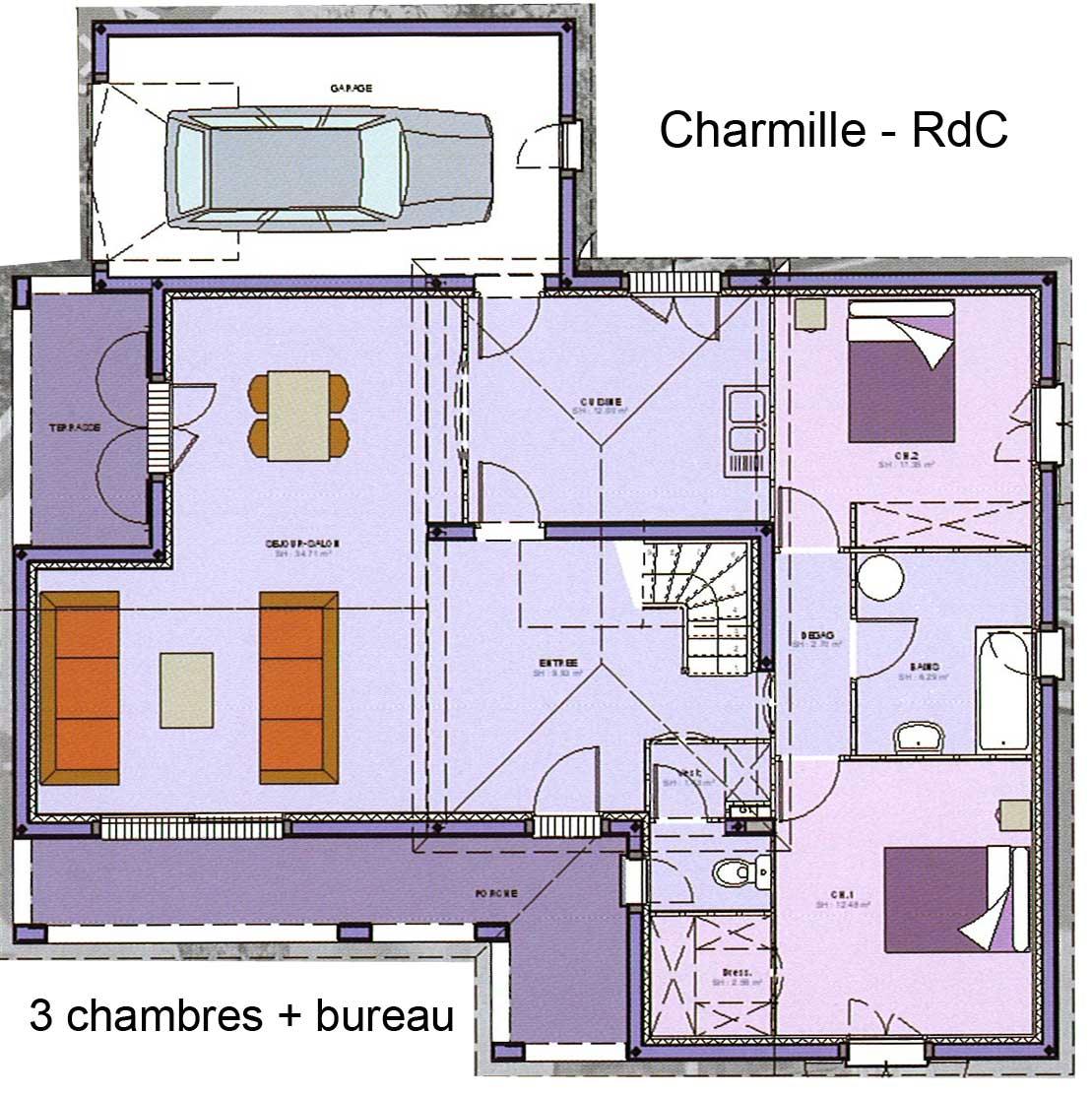Maison avec étage avec grand salon-séjour, bureau, 3 chambres, garage, terrasse