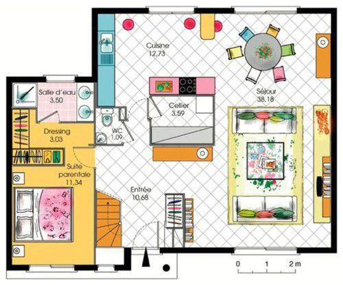 Maison contemporaine tage avec cuisine ouverte et suite - Plan de maison avec cuisine ouverte ...