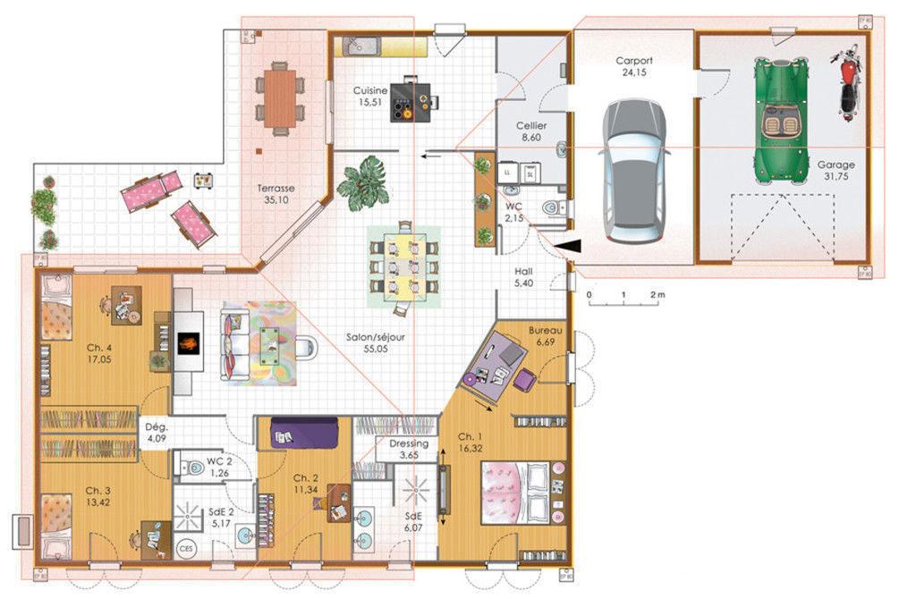 Grande maison 4 chambres avec terrasse, garage et carport