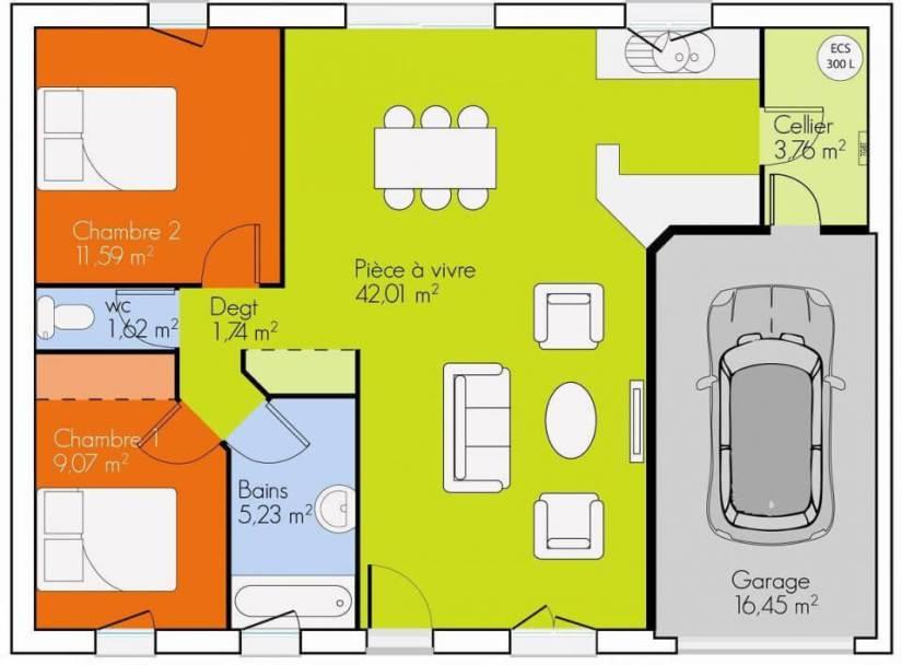 Maison plain pied 2 chambres