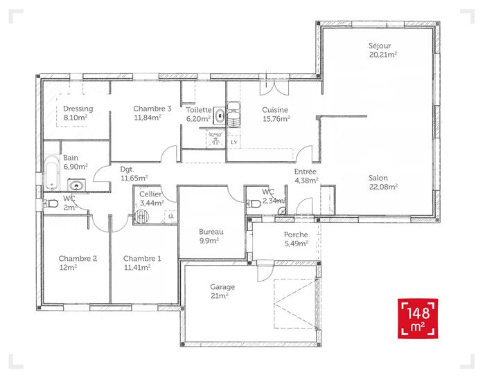 Plan maison plain pied 150m2