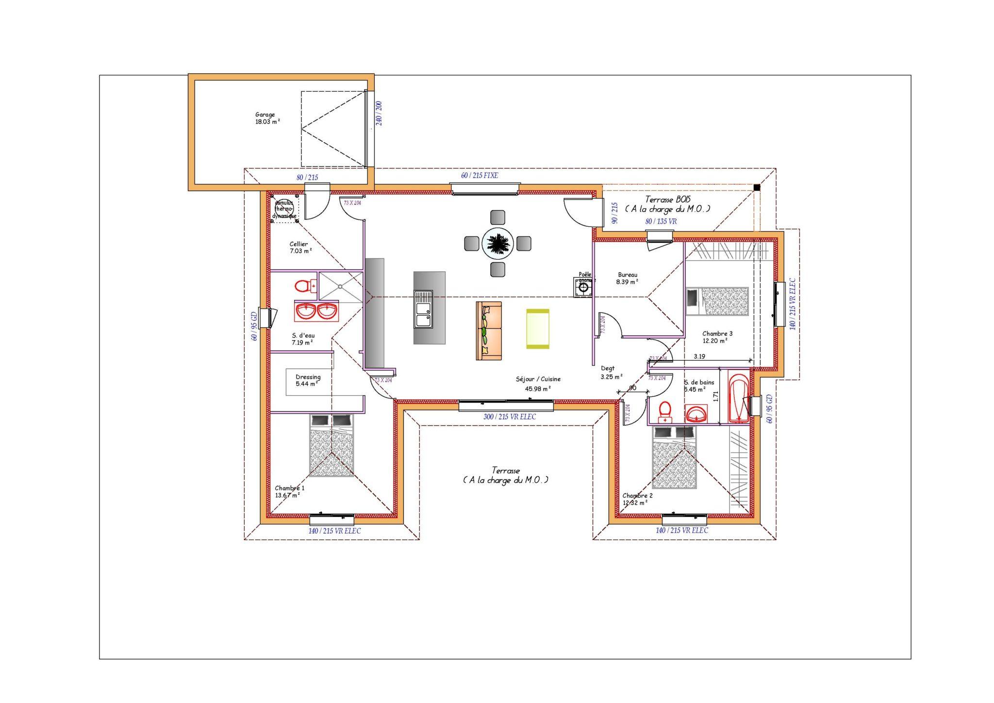 Plan maison en U ouvert à toit plat avec garage