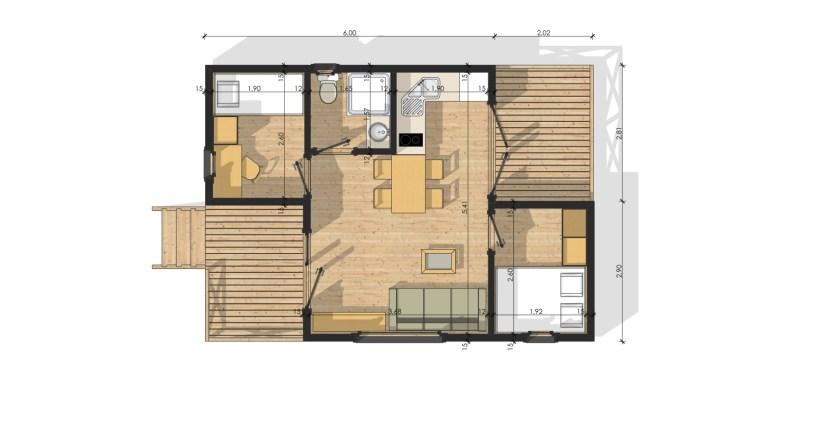 Chalet de jardin avec ossature bois 35 m²