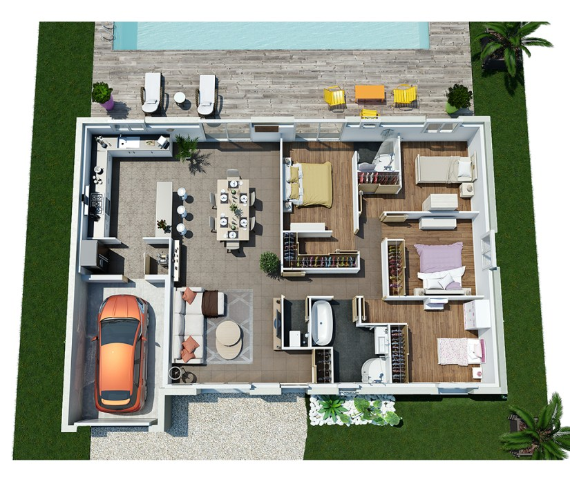 Plan 3D villa contemporaine de plain-pied moderne