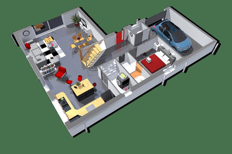 Plan maison 3D de 125 m² 2 chambres avec garage