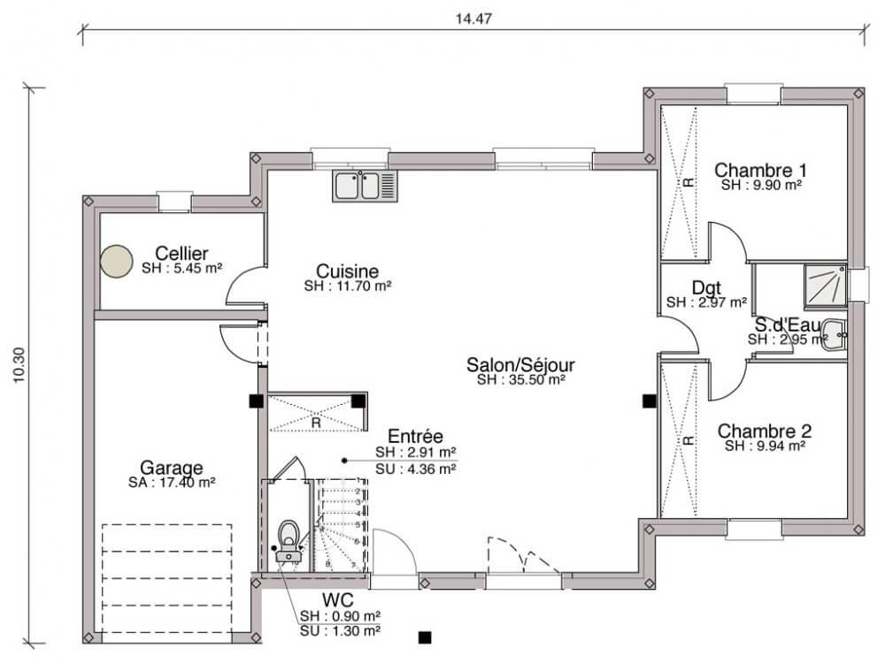 Plan de maison plain pied 11m de fa ade plans maisons - Plan maison plain pied 1 chambre ...