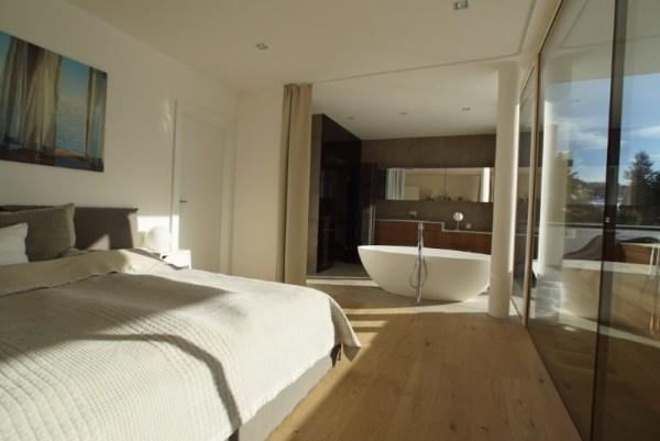 Schlafzimmer, Schrankraum, Badezimmer und Sauna