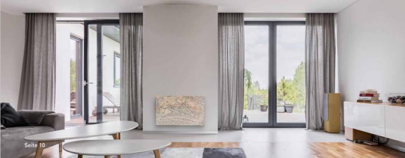 Natursteinheizung mit Infrarotstrahlung im Wohnzimmer