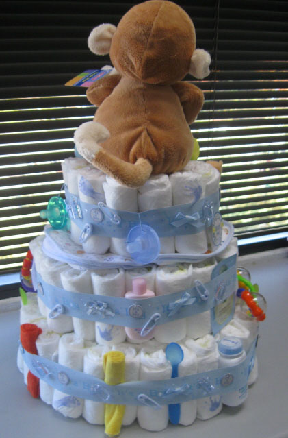 This Three Tier Diaper Cake is as Cute as a Button