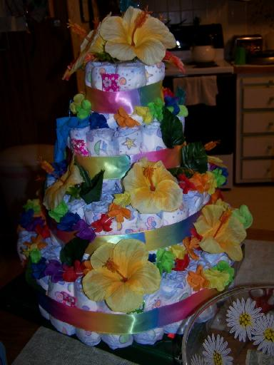 HawaiianThemed Baby Diaper Cake Instructions  Pictures