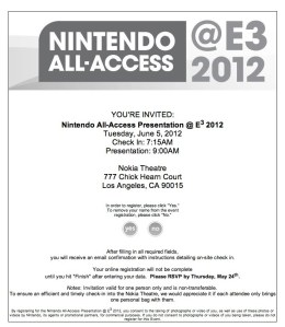 Invite to Nintedo E3 2012 Press Conference