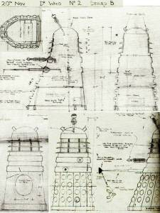 On the road to designing the Dalek this was the rough design that eventually became the final Dalek design