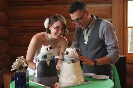 Reddit user eclaire4186 had matching groom and bride Dalek Wedding cakes for their wedding.