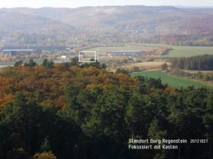 Aussichtspunkt von der Burg Regenstein in Richtung Werbepylon, 2013, planart4