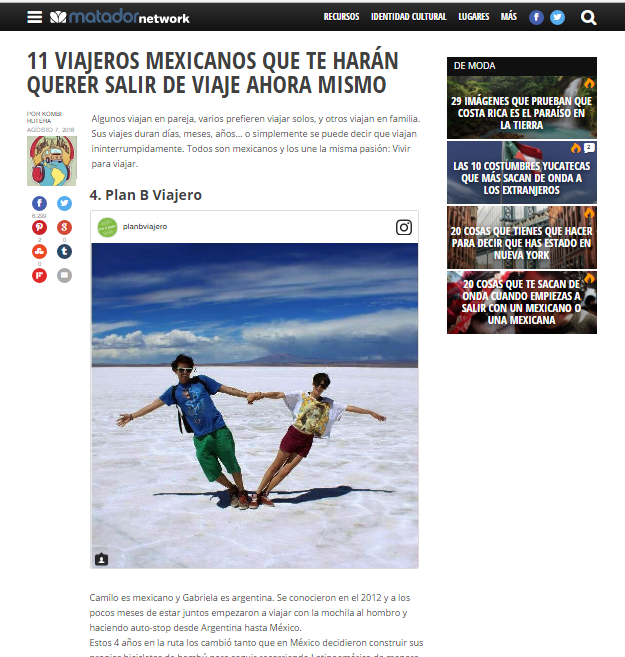 plan b viajero - mexicanos que inspiran a viajar matador network