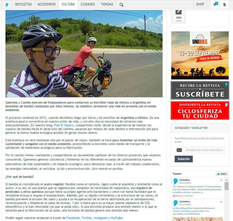 plan b viajero prensa viaje en bici de bamboo Ciclosfera