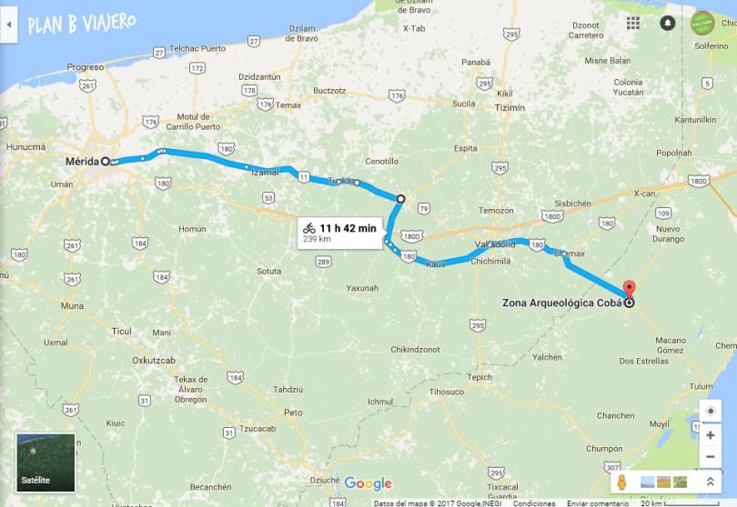 plan b viajero, mapa recorrido Península de Yucatán en bici