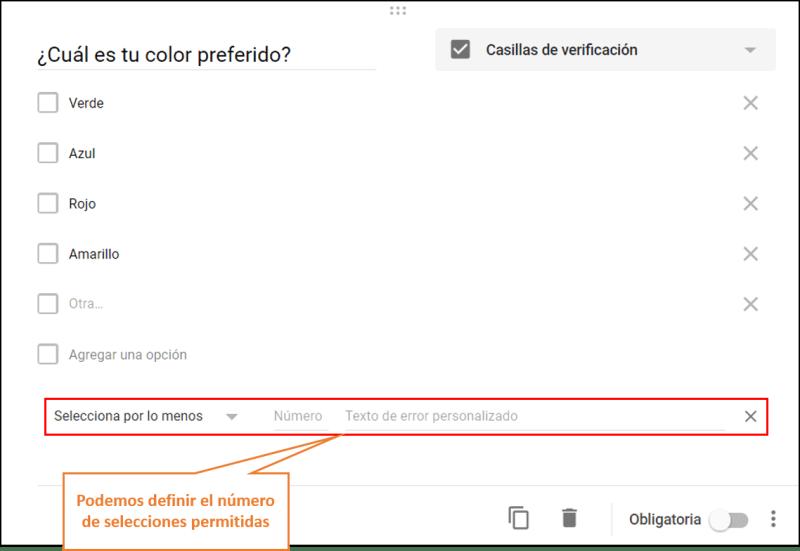 formularios de google casilla de verificacion