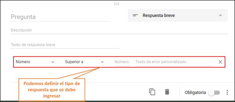 formularios de google respuesta breve