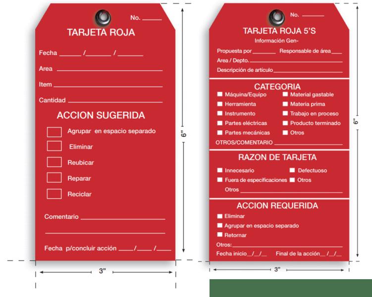 implementación de las 5s en una empresa Tarjeta roja