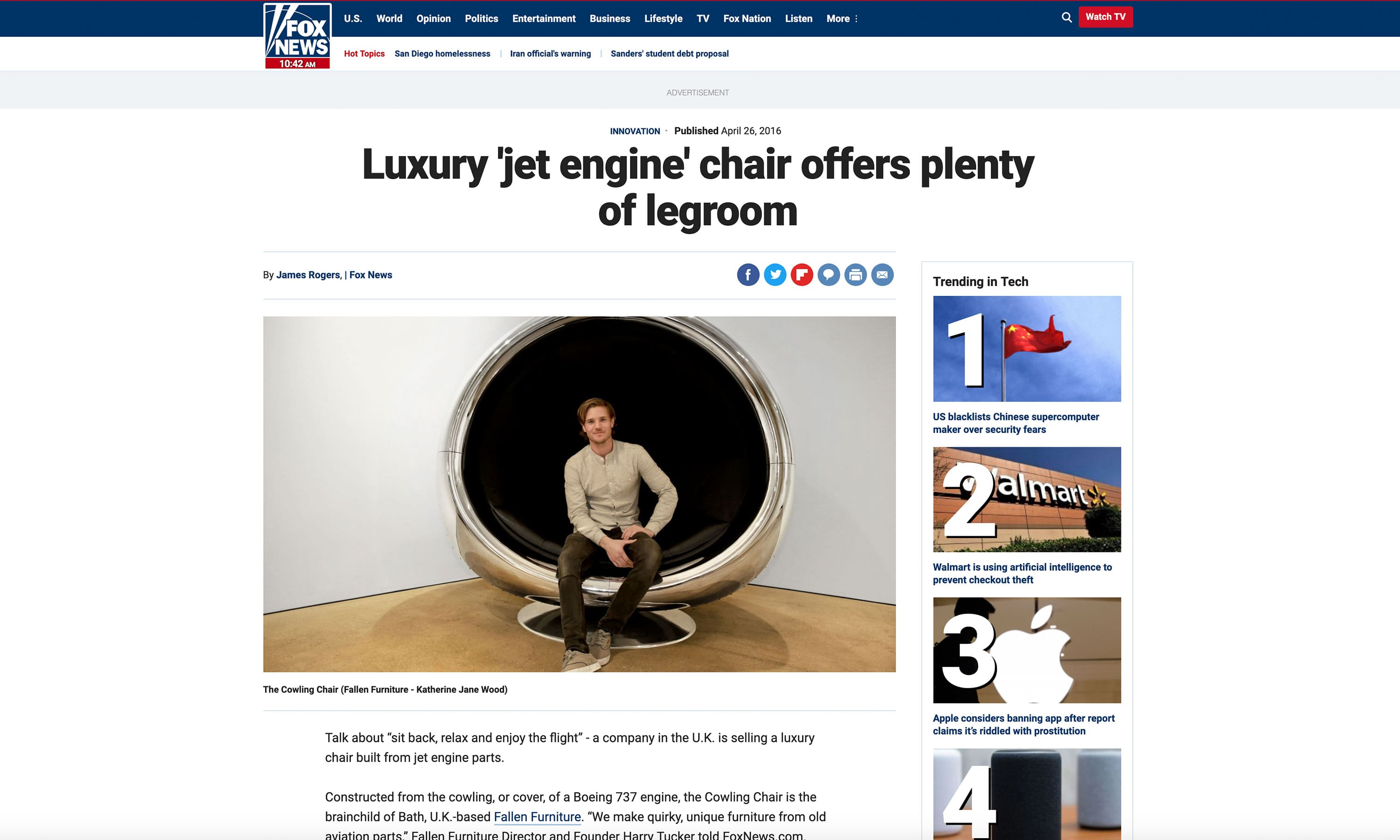 fox news boeing 737 cowling chair