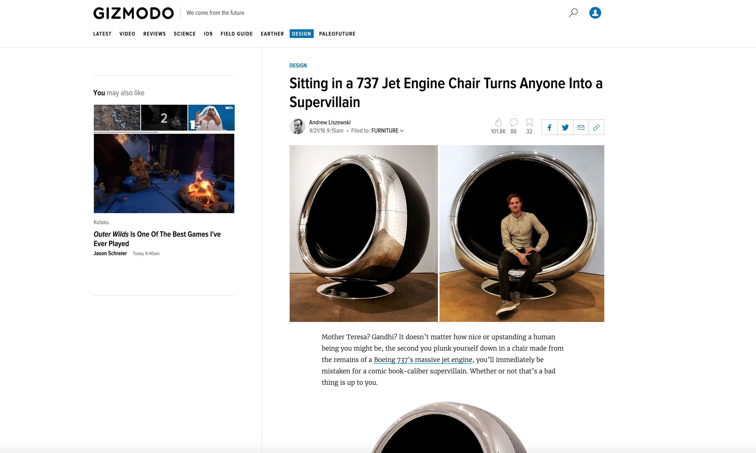 Gizmodo Boeing 737 Cowling Chair