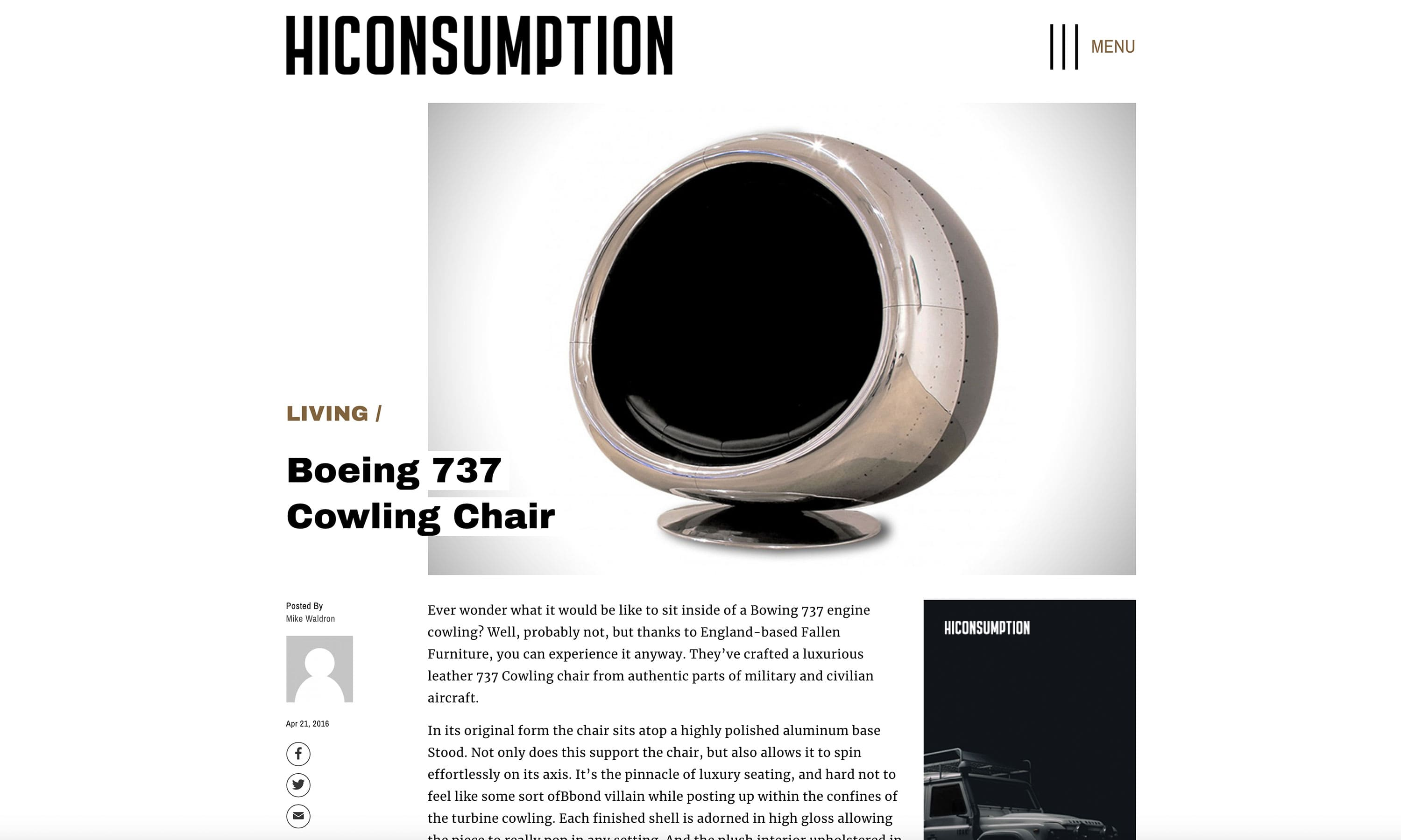 hiconsumption boeing 737 cowling chair