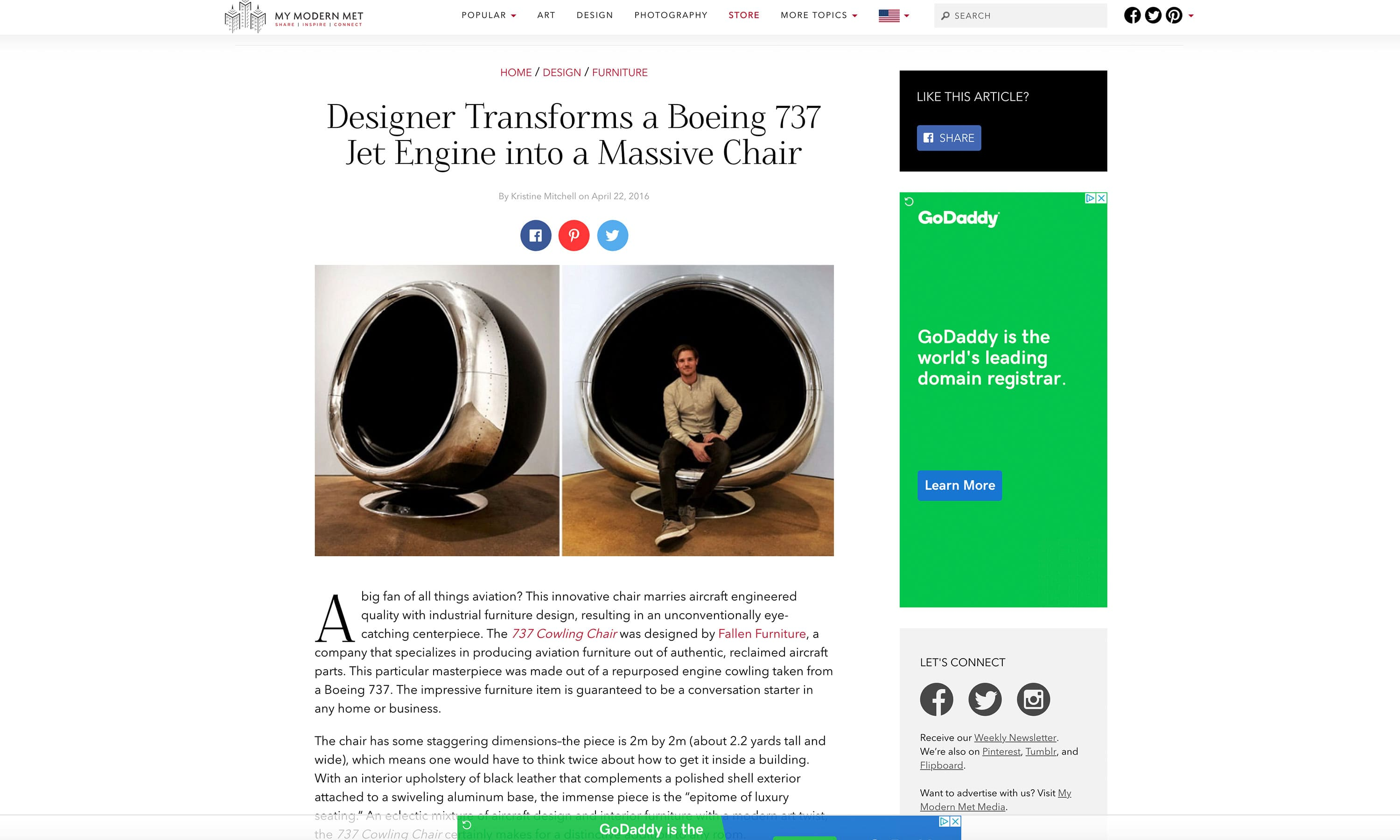 My Modern Met 737 Jet Engine Chair