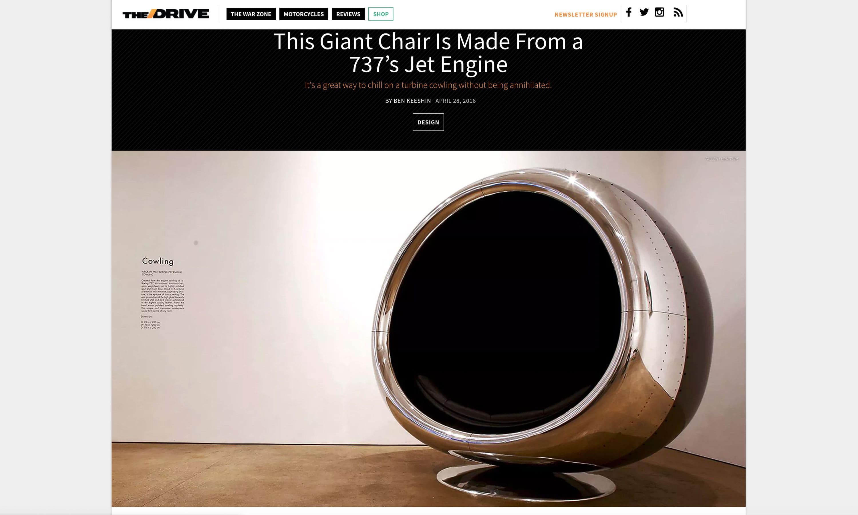 The Drive Aviation Chair Furniture Article