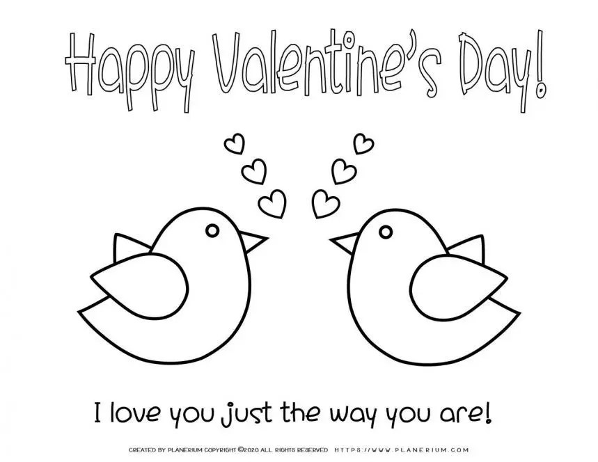 Valentines Day Coloring Pages Love Birds Planerium