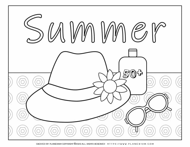 Summer - Coloring Page - Hat Sunglasses Sunscreen  Planerium