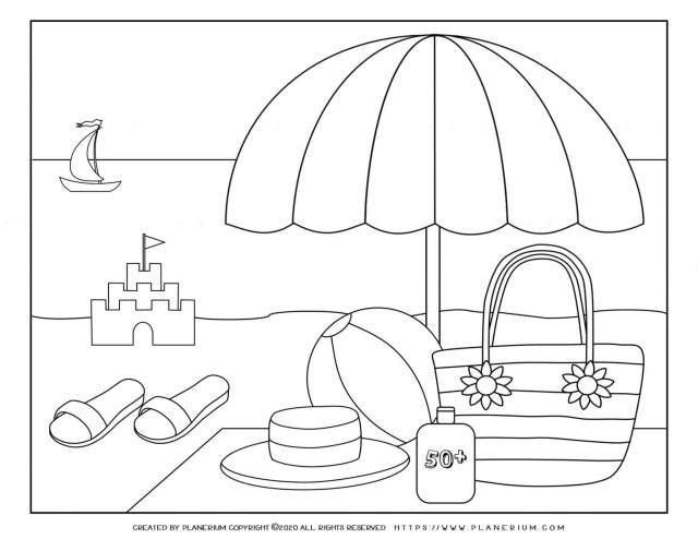 Summer - Coloring Page - Parasol on the Beach  Planerium