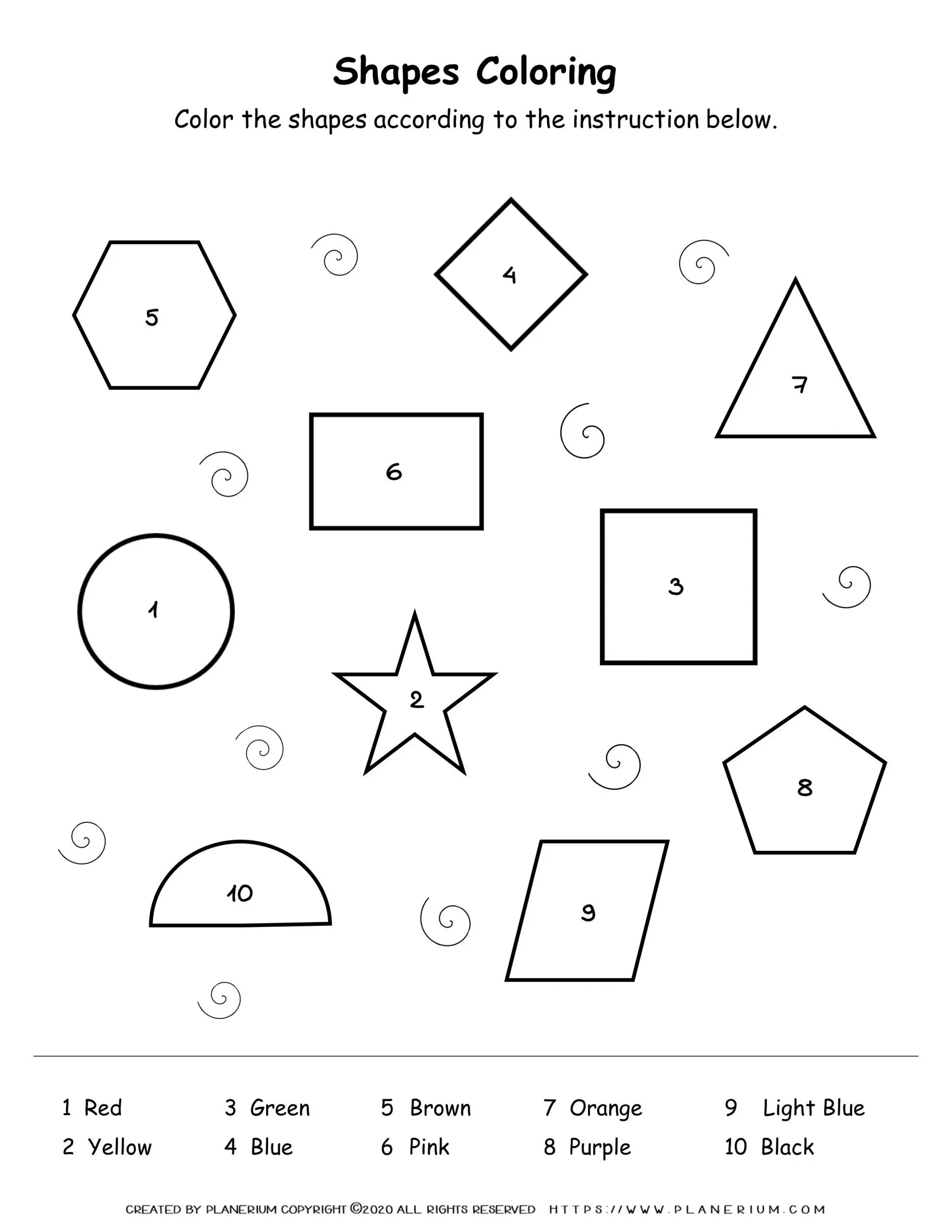 Worksheets Shapes Coloring By Number