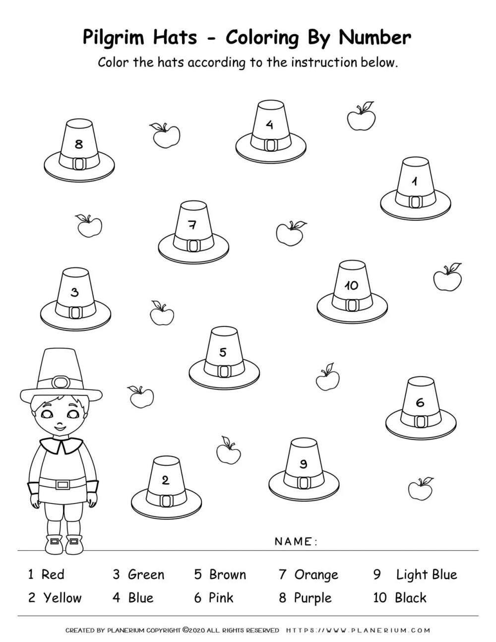 medium resolution of Thanksgiving Color by Number   Free printables   Planerium