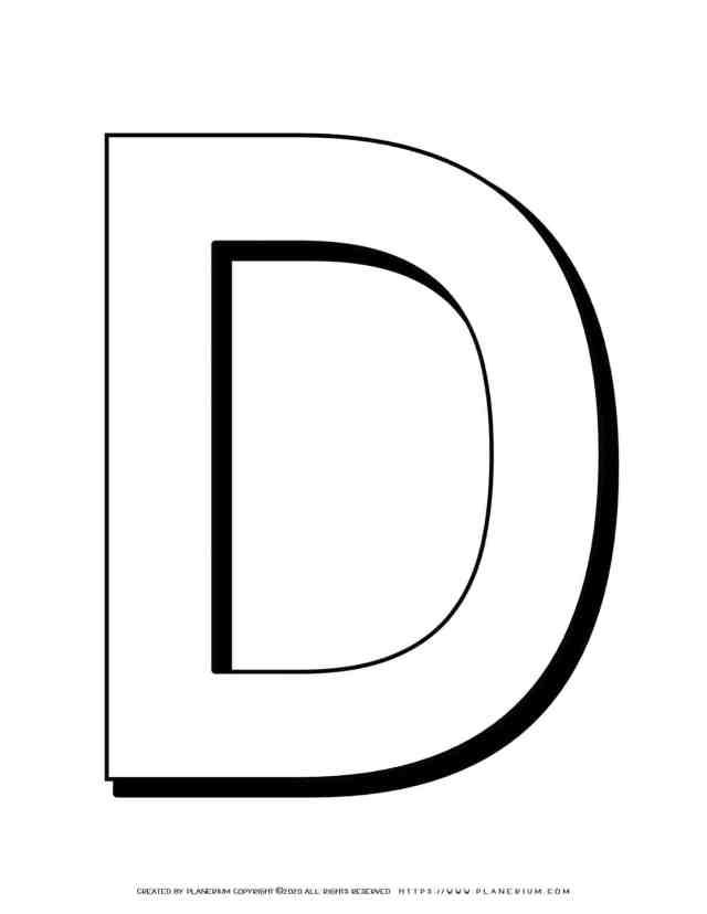 Alphabet Coloring Pages - English Letters - Capital D  Planerium