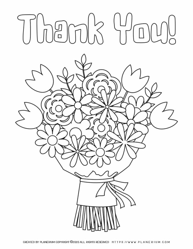 Thank You Flowers  Coloring Pages  Free printables  Planerium