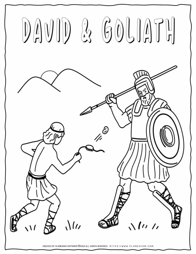 David and Goliath - Bible Coloring Pages  Planerium