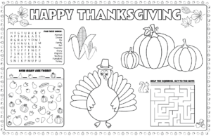 Printable Thanksgiving placemats for kids to solve and color