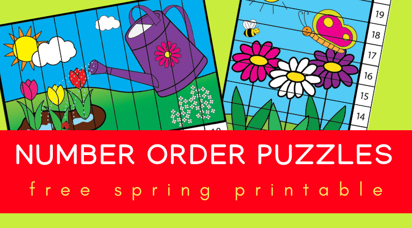 Fun free printable spring puzzles - perfect spring math activities for preschool or kindergarten. Skip counting and number order for kids. #spring #worksheets #prek #preschool #kindergarten
