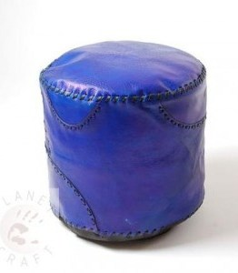 blue plain pouffe