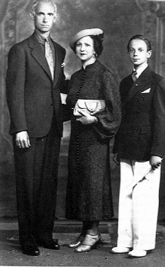 Graduation day 1934 for Astor, with dad Vicente and mom Asunta Manetti