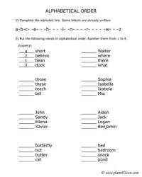 Alphabetizing Words Worksheets