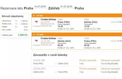 Příkladný termín letenky z Prahy do Záhřebu za 3 590 Kč