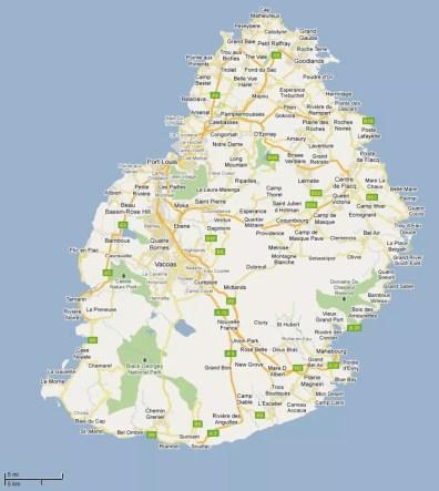 Detailní mapa Mauriciu