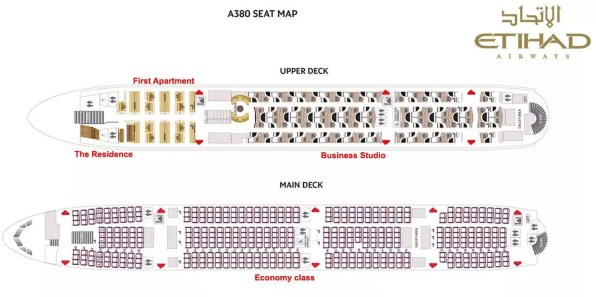 Plán sedadel v Airbusech A380 u společnosti Etihad