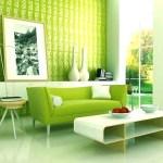 Decoración de interiores en color verde