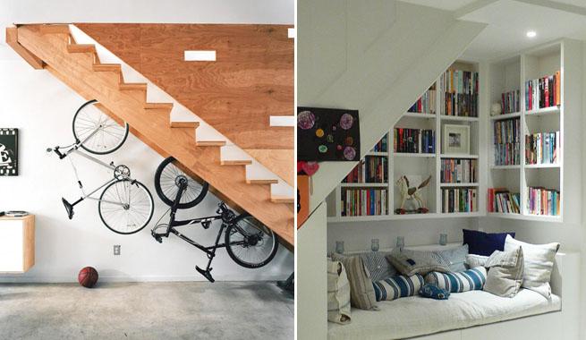 hemos sugerido algunas y con un poco de imaginacin e iniciativa logrars hacer del hueco de la escalera un espacio totalmente prctico