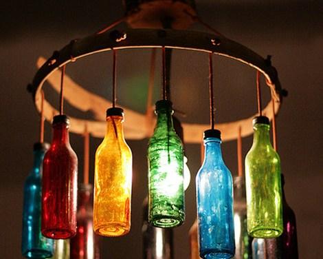 Lámparas decorativas con vidrio reciclado.
